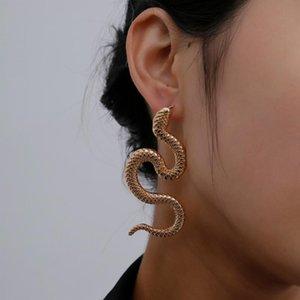 Flashbuy Punk Long Snake Pendientes para mujeres Vintage Gold Serpentine Declaración en relieve Pendientes 2021
