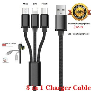 TOPK New Arrival 3 Pack Fast 3 n 1 Multi Charging Cable Charger Cord Cell Phone Android Phone FY7431