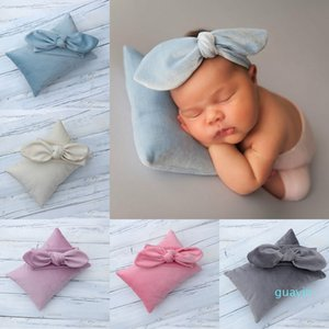 Newborn Infant Baby Props Photography Cute Velvet Pillow with Bowknot Headband Photography Props-Posing Pillow and Headband Set 15278