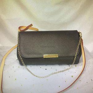 M40718 가장 좋아하는 MM 클래식 핸드백 패션 여성 크로스 바디 가방 체인 어깨 가죽 가죽 Damier Azur ebene 캔버스 크로스 바디 백 N41275-21