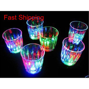 Colorful Led Cup Flashing Shot Glass Led Plastic Luminous Cup Neon Cup Birthday Party Night Bar Wedding Beverage Wine Flash Small Rdvst
