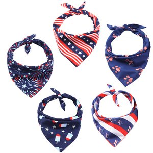 independence day pet saliva towel washable triangular neckerchief bib bandana for cat dog adjustable July 4th puppy accessory GWB5671