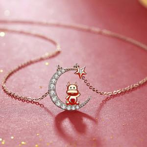Collier Zodiac Ox Collier Silver Rose Gold Collarbone Chaîne Guochao Benmingnien Pendentif Nouvel An 6Iis