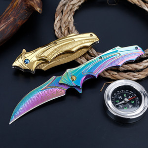 Color Gold Flow Pattern Cool Folding Knife High Hardness Color Gold Folding Knife Field Self-Defense Handle Accords With Ergonomics