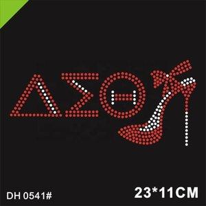 Free shipping Rhinestone motif Delta Sigma Theta Rhinestone Transfers Bling Bling Iron On For T shirts DH0541#