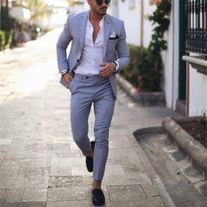 Light Blue Tuxedo Men Suits for Wedding Business Suit Blazer Peaked Lapel Costume Homme Terno Party Suits(jacket+pant) LJ201104