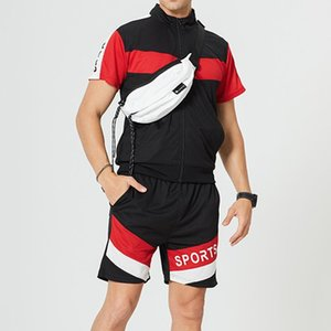 Men Sportswear Set Fashion Summer Shorts Set Mens Tracksuit Patchwork Hip Hop T Shirt+Shorts Male Casual Two Pieces Track Suit