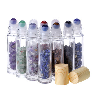 10ML Clear Glass Roll on Perfume Bottles with Crushed Natural Crystal Quartz Stone Crystal Roller Ball Wood Grain Cap 10 Colors
