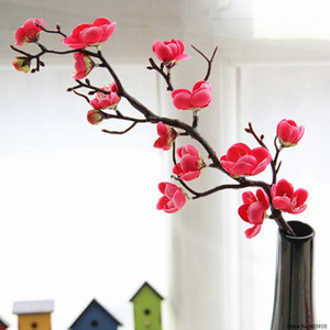 White Red Pink 2Pc Artificial Plum Blossom Artificial Flowers Fake Cherry Silk Plants Cafe Shop Party Wedding Home Decor