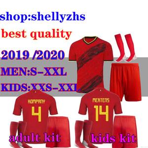 Kit de adultos + Kit Kids 19 20 Bélgica Futebol Jersey Euro Alta Qualidade # 10 e.hazard R. Lukaku de Bruyne Kompany Camisas de futebol