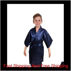 Kids Satin Rayon Solid Kimono Robe Bathrobe Children Nightgown For Spa Party qyluzH abc2007