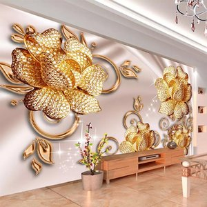 Фото обои 3D стерео роскошь ювелирные изделия розы розы розы живущая комната телевизор диван фон стены живопись европейский стиль фрески