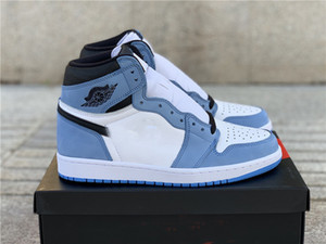 2021 Air Air Authentic 1 High OG White University Blue Black 1s Uomo Donna Scarpe da esterno Zapatos Sneakers sportive con scatola originale