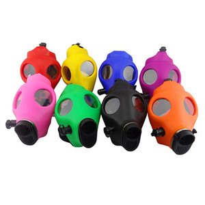 Gas Mask Bong Both Glow in the Dark Water Shisha Acrylic Smoking Pipe Sillicone Mask Hookah Tobacco Tubes Free Shipping Wholesale