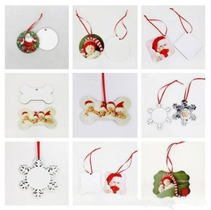 18 Styles Sublimation Mdf Christmas Ornaments Decorations Round Square Shape Decorations PendantsTransfer Printing Blank Consumable BWC6308