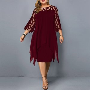 Women's Dress Plus Size Summer Dresses Ladies Elegant Mesh Sleeve Birthday Party Dress Wedding Club Outfits 2021 Women Clothing 210303