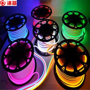 50m / lot 네온 로프 LED 스트립 RGB AC 220V 50 미터 옥외 방수 5050 SMD 빛 60LEDS / M 1 미터 240V에서 POWER CUTTABLE