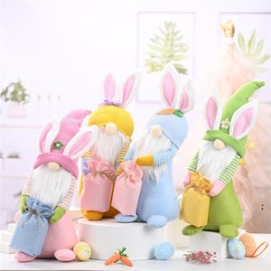 Easter Bunny Gnome Happy Easter Rabbit with a Knitted Bag Spring Kids Dwarf Doll Toys Home Table Top Decorative Ornament HWA3707