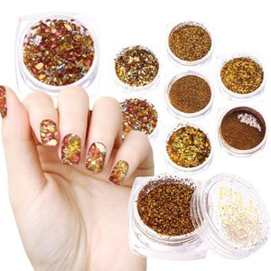 Nail Glitter UV Gel Mirror Circle Sequin Holographic Shimmer Dipping Powder Art Decoration Gold Foil Flakes
