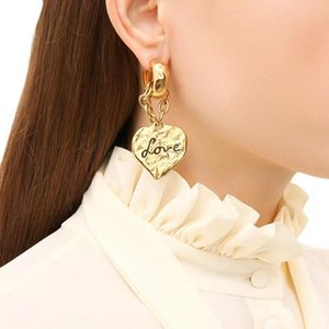 European And American Retro Love Chain Ear Earrings Light Luxury High-End Clips Ins Niche Personality Wild Fashion Jewelry