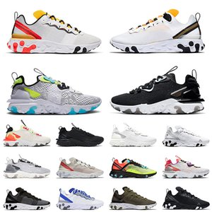 epic react vision react element 55 87 2021 Top EPIC React Vision Worldwide Pack White Element 55 Undercover Running Sports Shoes For Men Women Black Iridescent Trainers 스니커즈