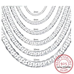 Chains 8MM 925 Sterling Silver Italian Cuban Curb Chain Necklaces For Men's Women Fashion Figaro Layering Necklace