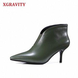 Xgravity zapatos verde cuero genuino tacón fino mujer zapatos profundo v diseño dama botas de moda elegantes mujeres europeas botas A240 S1Q4 #