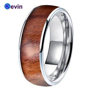 8mm Erkekler Kadınlar Tungsten Düğün Band Yüzük Ile Gerçek Ahşap Kakma Dome Bant Konfor Fit