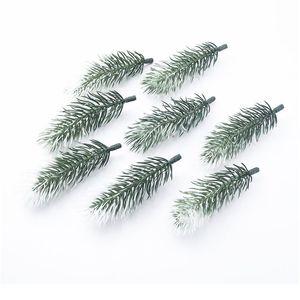 100pcs 인공 식물 플라스틱 소나무 바늘 눈송이 크리스마스 화환 소재 결혼식 장식 꽃 화환 호 Jllwxi