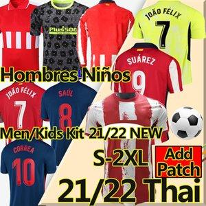 Nouveau 21/22 João Félix Atletico Soccer Jerseys de Madrid 2020 2021 Suarez Correa Koke Dembléé Carrasco M.Llorente Hommes Kit Kit Jersey de football