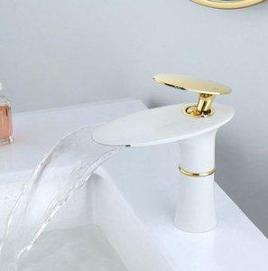 Waschbecken Wasserfall Wasserhahn Badezimmer Waschbecken Wasserhahn Einzelgriff Loch Waschtisch Mischbatterie Gold Weiß Grifo Lavabo Waschen Warmes und kaltes Armaturen