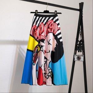 Female Young Women Cartoon Print Pleated Skirt Mouse dress Girl Summer Spring Long Skirt Women for Girls