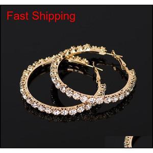 Yfjewe 2020 New Hot Sale Crystal Rhinestone Earrings Women Gold Sliver Hoop Earrings Fashion Jewelry Earri qylGTS bdefashion