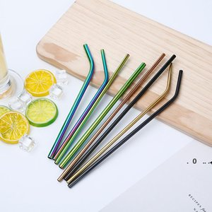 Colorful Stainless Steel Straws Reusable Straight and Bent Drinking Straw Eco Friendly Bar Drinking Tools Colored Metal Pipette EWC6311
