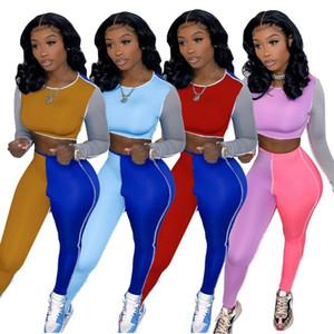 Women Two Piece Jogger Sets Designer 2021 Tracksuits Slim Color Line Stitching Sports Suit Outfits Ladies New Fashion Sportwear