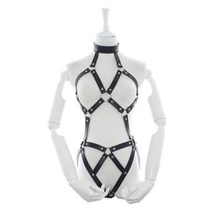 Bondage Sexy Women PU Leather Full Harness Restraint Set Bdsm Gear Lingerie Goth Fetish Halloween Costume Erotic