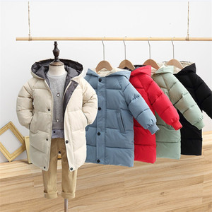Winter Puffa Jacket Puffer Padded Long Coat Children Kids Quilted Warm Outwear Outdoor Windproof Boys Girls Long Jackets Cloth Top LY111701