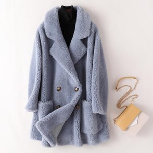 2021 Winter Women Real Sheep Shearing Fur Wool Coat Female Natural Fur Thick Jacket Faux Suede Lining Overcoat Abrigos Mujer Z49