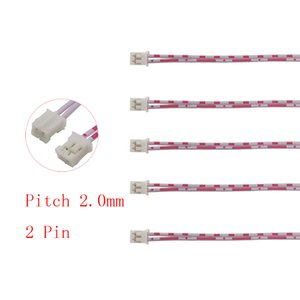 BNC Connector Red White Cable 20CM Micro JST PH 2.0 2PConnectorFemale to Female Jack Pitch 2.0mm 2 Pin Double Head Wire Connectors 26AWG