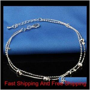 NOUVEAU Bracelet de la cheville Stralle Sterling 925 pour les femmes Bijoux de pieds en zircon Inlaid Zircon Bracelet sur une jambe QYLUGI Luckyhat