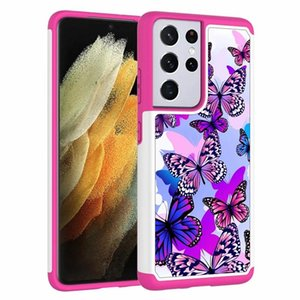 Shockproof S21 Ultra Case For Samsung Galaxy S21 Case Sunflower Hard PC+TPU Flower Butterfly Tree Hybrid Defender Armor Cover Girl Women