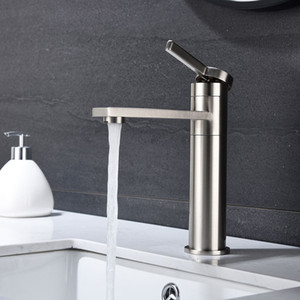 WACO Bathroom Sink Faucet, 360°Rotating Spout Single Handle Basin Mixer Tap for Hot and Cold-Water Lavatory Sink Faucets. Stainless Steel