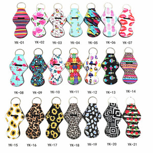 30ml Hand Sanitizer Holder Neoprene Keychain Mini Bottle Cover Key Ring Travelling Portable Case Printing Bag Party Favor Gift for Girls