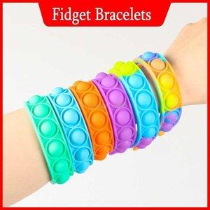 Decompression Fidget Finger Toys Bracelet Puzzle Press Finger Stress Wristband Push Bubble Silicone Bracelet Sensory Ring Favor