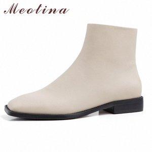 Meotina Kış Ayak Bileği Çizmeler Kadın Doğal Hakiki Deri Fermuar Düz Kısa Çizmeler Moda Kare Toe Ayakkabı Bayanlar Sonbahar Boyutu 34 40 Footw D6OZ #