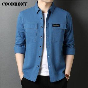 Büyük Cep 100% Pamuk Uzun Kollu Gömlek Erkekler Giyim Bahar Sonbahar Yüksek Kaliteli Streetwear Moda Stil