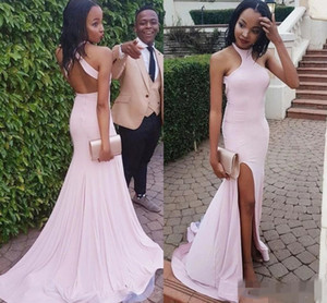 2021 Sexy Blush Pink Mermaid Prom Dresses Halter Backless Side Slit African Black Girls Long Evening Party Gowns Formal Occasion Wear