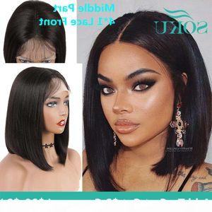 Pelucas de encaje sintéticas cortas para mujeres afro negras Soku Soku Natural Blown Color Kinkly Curly Hair Pieza media recta Bob Wig