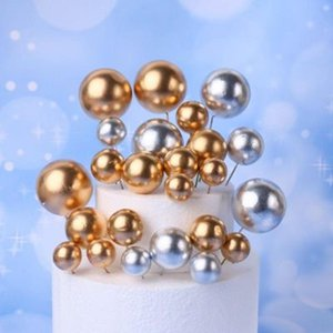 10pcs lot Lovely Gold Ball Cake Topper Birthday Cup Cake Decoration Baby Shower Kids Birthday Party Wedding Favor Supplies