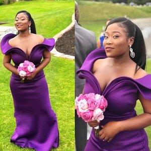 Regent Purple Mermaid Bridesmaid Dress For Wedding 2021 Off Shoulder Satin Plus Size Maid Of Honor Gowns African Bridesmaids Dresses Special Occasion Wear